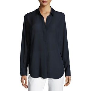 Vince Shirred Silk Split Neck Navy Blur Blouse